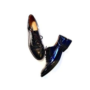 Franco Sarto Black Patent Leather Oxford Loafer 9